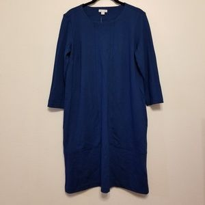 J.Jill ponte knit seamed dress with 3/4 sleeves